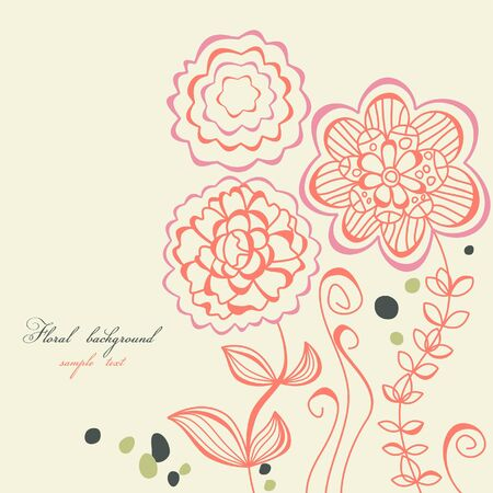 Floral background line work  Stock Vector - 7964030