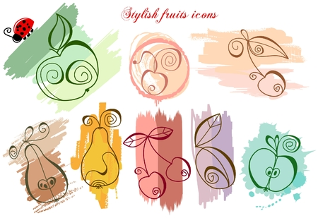 Stylish fruits icons Stock Vector - 7964053