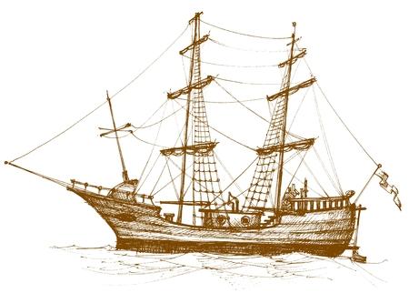 yacht isolated: Vintage velero 2
