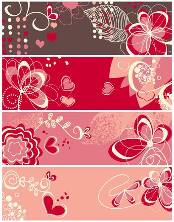 Cute love banners collection  Vector