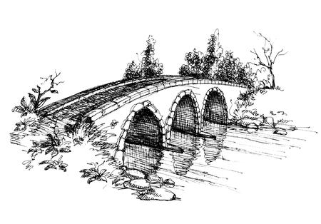 stein schwarz: Stone Br�cke �ber Fluss Skizze 2