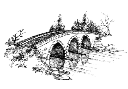 river bank: Stone bridge over river sketch 2