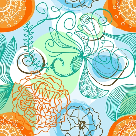 Funky floral background (seamless) Stock Vector - 8023047