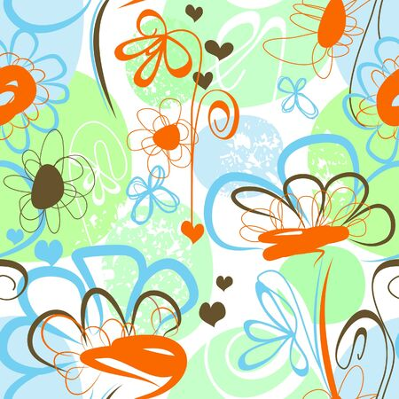 whimsy: Seamless floral background Illustration