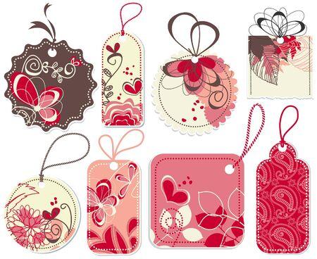 귀여움: Cute price tags collection, flowers and hearts ornaments