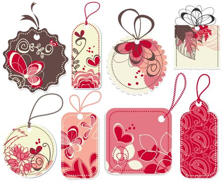 Cute price tags collection, flowers and hearts ornaments  Vector