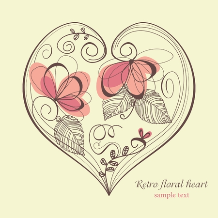 Retro floral heart Stock Vector - 8084998