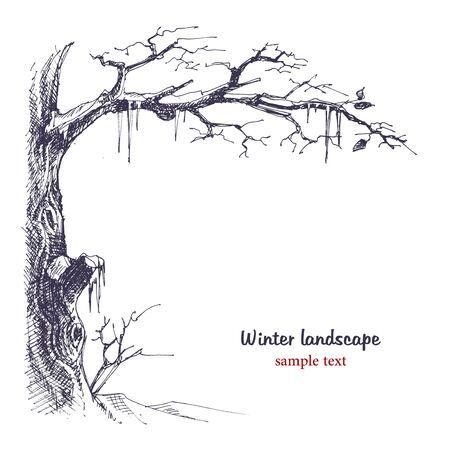 monochroom: Winter landschap sketch  Stock Illustratie