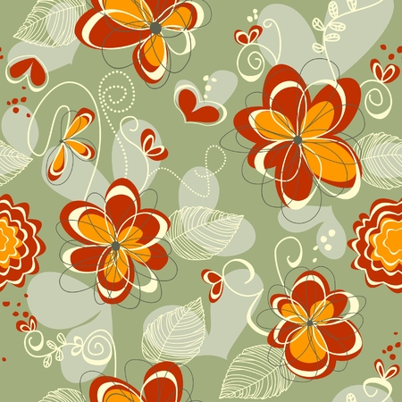 Retro flowers and hearts seamless background  Vector