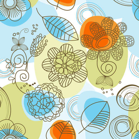 whimsy: Whimsical floral background (seamless)  Illustration