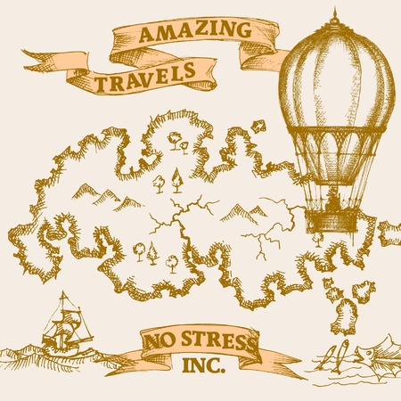 vintage world map: Vintage travel background, recreation concept