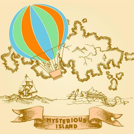 reise retro: Retro Reisen Hintergrund  Illustration