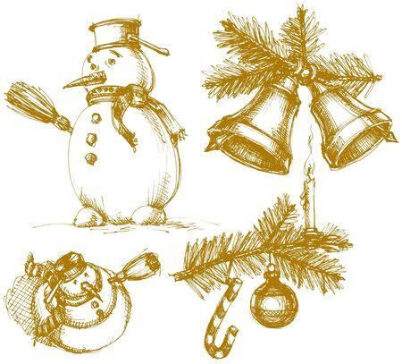 xmas linework: Christmas symbols in vintage style