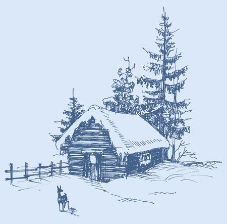 xmas linework: Winter landscape sketch