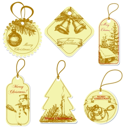 Vintage Christmas price tags Stock Vector - 8085020