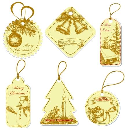 etiquetas de ropa: Vintage etiquetas de precio de Navidad  Vectores