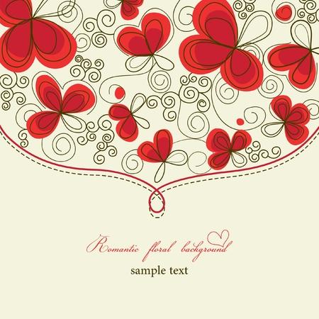 marriage invitation: Cute romantic floral background Illustration