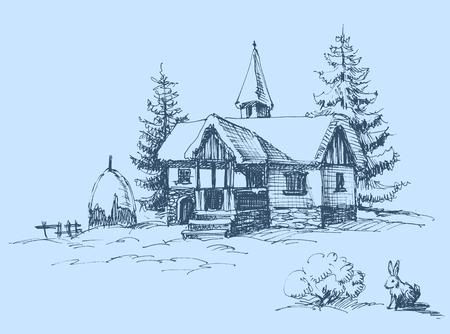 Paisaje de invierno en campo  Ilustración de vector