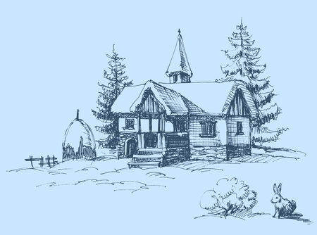 old houses: Winter landscape at countryside Illustration