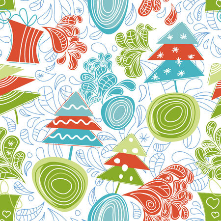 Funky Christmas seamless pattern  Vector