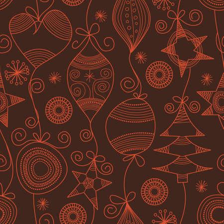 xmas linework: Cute Christmas seamless background  Illustration