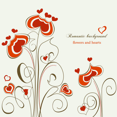 Romantic illustration; flowers and hearts  Vector