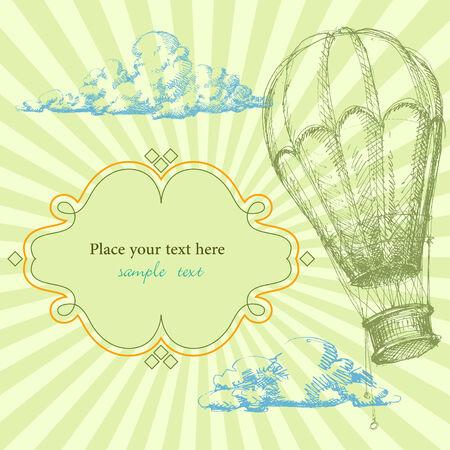 balon: Retro background with hot air balloon