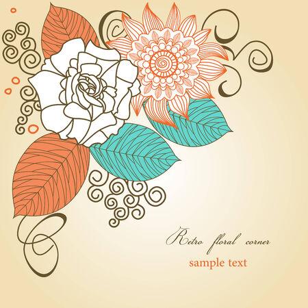 esquineros florales: Esquina floral retro
