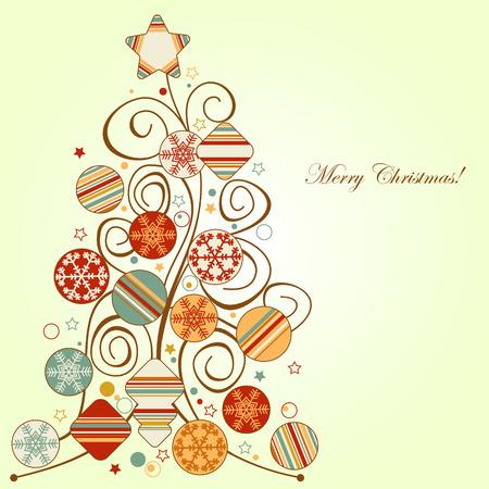Retro Christmas tree Illustration