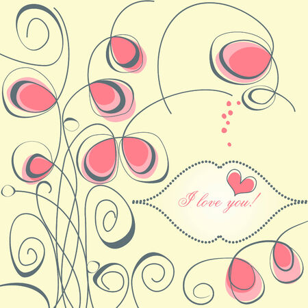 Floral card, love message Vector