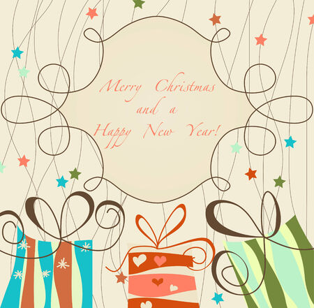 greeting card backgrounds: Retro Christmas card