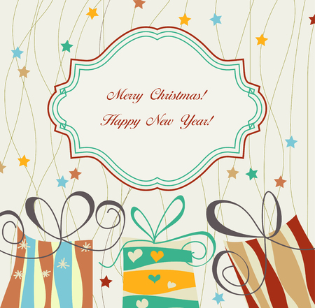 Christmas card with gift boxes Stock Vector - 8254236