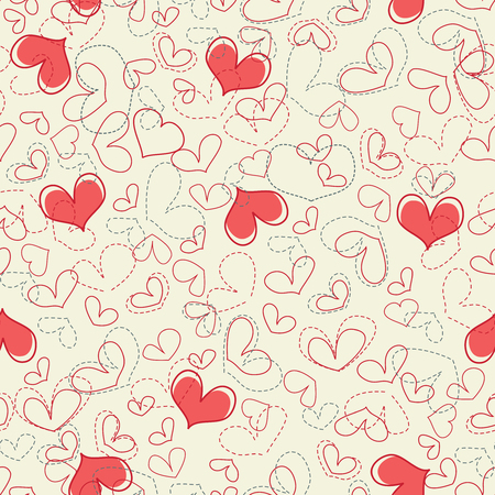 Cute hearts seamless background Stock Vector - 8254246
