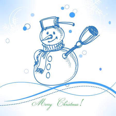 xmas linework: Funny snowman Christmas card