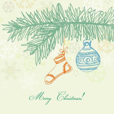 xmas linework: Christmas tree branch and ornaments Illustration