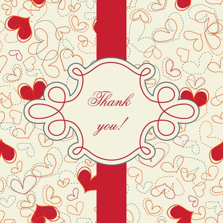 thankful: Tarjeta de agradecimiento. patr�n transparente de corazones