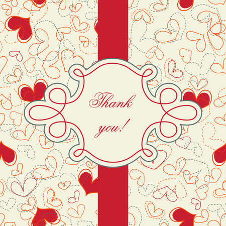 acknowledgment: Thank you card; hearts seamless pattern Illustration
