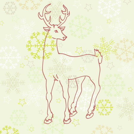 Retro Christmas deer  Vector