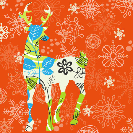 whimsy: Decorative Christmas deer; snowflakes pattern Illustration