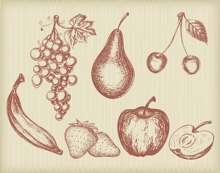 pears: Vintage fruits set