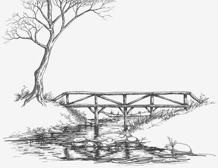 Brug over de rivier schets Vector Illustratie