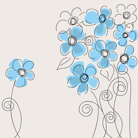 Cute blue flowers Vector