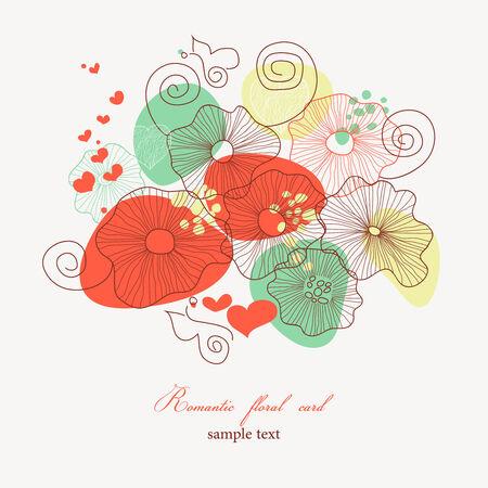 Romantic floral card  Vector