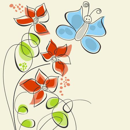 Cute Blumen und der Schmetterling