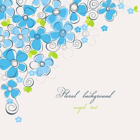 esquineros florales: Azul esquina floral