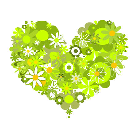Green floral heart, eco message  Vector