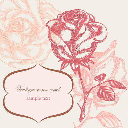 Vintage rose floral card (not auto-traced)