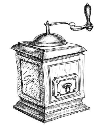 macinino caffè: Schizzo coffee grinder Vettoriali