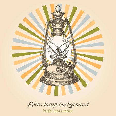 Retro lamp; creativity concept Vector