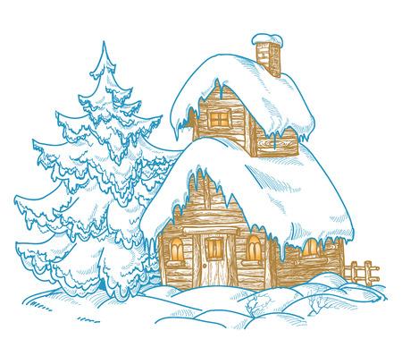 seasonal symbol: Paisaje invernal de dibujos animados